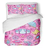 Emvency 3 Piece Duvet Cover Set Breathable Brushed Microfiber Fabric Pink Princess with Cute Carriage Cartoon Flower Tiara Heart Butterfly Girls Crown Bedding with 2 Pillow Covers Full/Queen Size