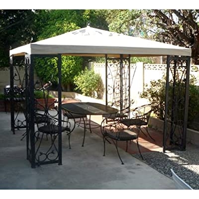 Garden Winds Fleur De Lis Finial Gazebo Replacement Canopy Top Cover - RipLock 500 : Garden & Outdoor