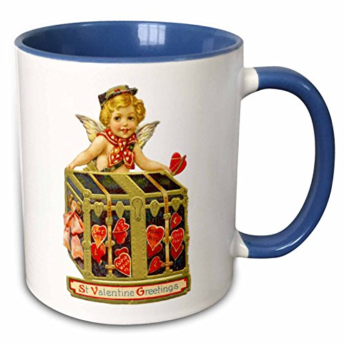 3dRose InspirationzStore Vintage Art - Vintage Cupid delivering St Valentines Day Greetings - Romantic love chest and cute cherub angel - 15oz Two-Tone Blue Mug (mug_161320_11)
