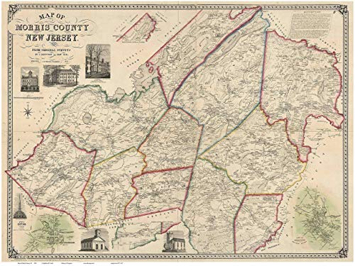 Morris County New Jersey 1853 - Wall Map with Homeowner Names - Old Map Reprint ()