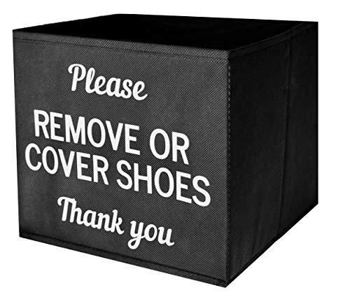 Shoe Cover Box | Disposable Shoe Bootie Holder for Realtor Listings and Open Houses | Please Remove or Cover Shoes Black Bin -