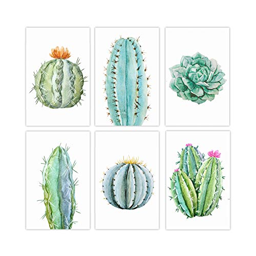 Set of 6 Cactus Wall Posters Perfect for Your Living Room Or Bathroom | Modern Flower Decor Poster | Awesome Canvas Prints Wall Art of Nature for Home Decorations | Cactus and Floral Paintings