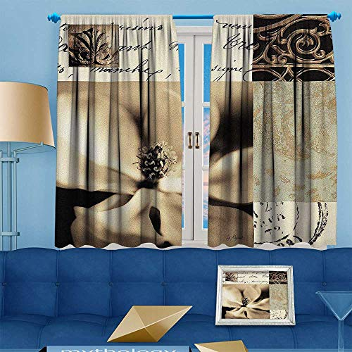(PRUNUS Blackout Curtain Flaxen Silhouette by Aparicio Waterproof Window Curtain W55 x L63 inch)