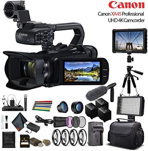 3665C002 Lenses 64GB Memory Card 4K Monitor Soft Padded Bag Canon XA45 Professional UHD 4K Camcorder 3 Piece Filter Kit W// 2 Extra Battery LED Light Sony Mic and More Professional Bundle