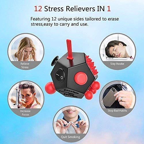 WCZC 12 Sided Fidget Cube,Fidget Dodecagon Toy Anti-Anxiety,Relieves Stress and Autism for Kids ,Teens and Adults (Red) by WCZC (Image #5)