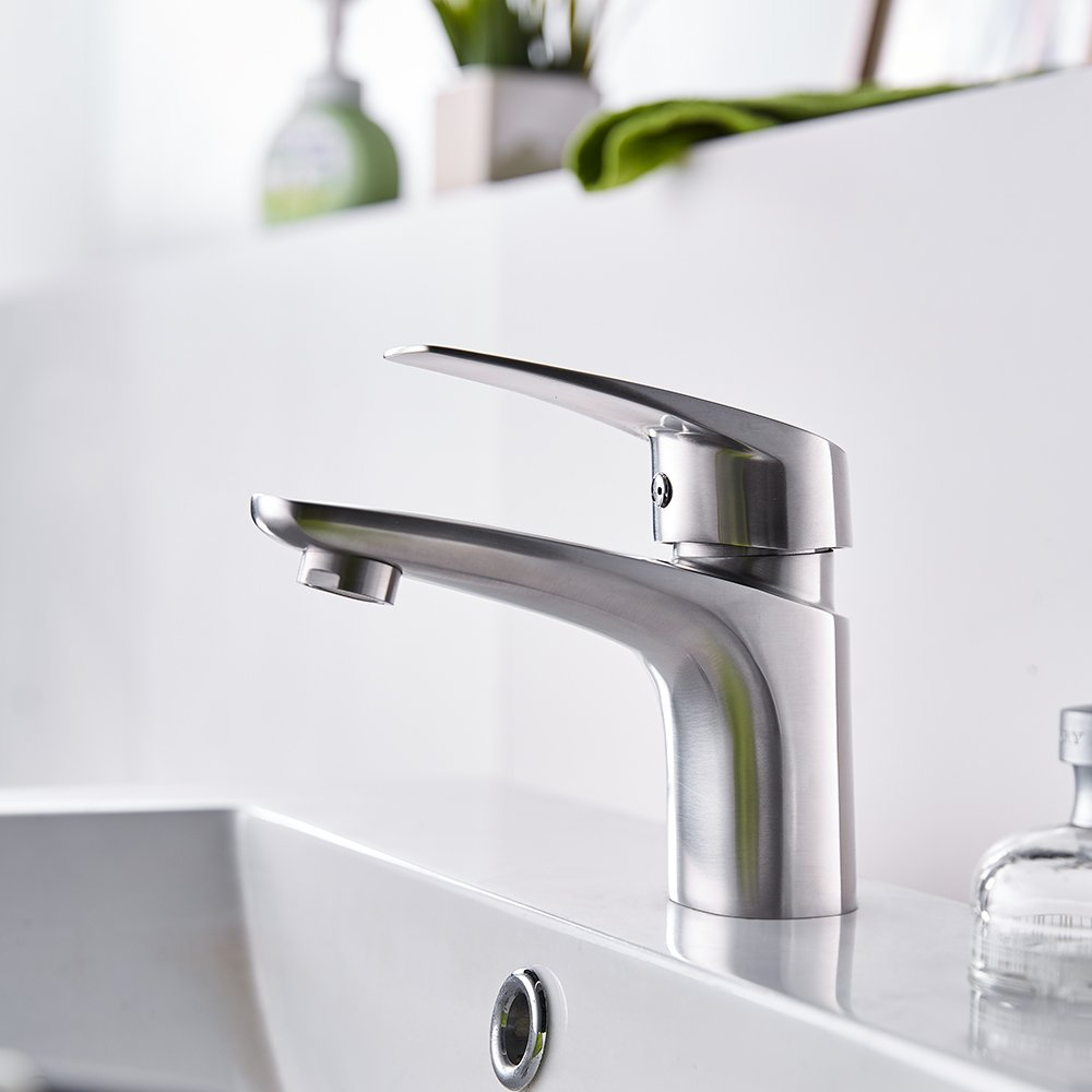 TRYWELL Single Handle Modern Bathroom Sink Faucet with Pop Up Drain, T304 Stainless Steel