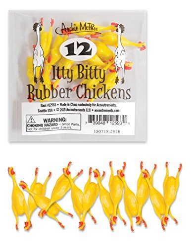Archie McPhee Itty Bitty Rubber Chickens (Pack of 12)