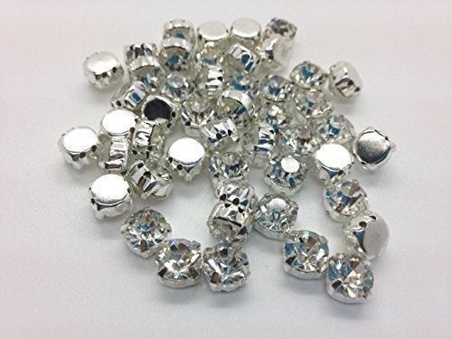 Trimming Shop London Ltd Premium Quality Sew On / Glue On, Cut Glass Crystals Casing, Rhinestones Silver - Shop Glasses London