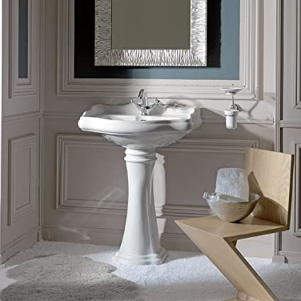 WS Bath Collections Retro 1045+1070 Pedestal Sink 21.7u0026quot; X 18.3u0026quot;  With One