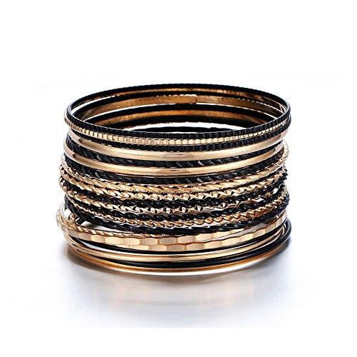 ENSOUL Gold Black Indian Multiple Metal Bracelets & Bangles Set for Women Luxury 22Pcs/Set