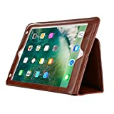 iPad Pro 9.7 inch case,Vacio PU Leather Case Tablet Smart Stand Case Slim Fit Cover with Card Slot and Hand Strap for iPad air/air 2/ Pro 9.7/2017 New iPad (Light Brown)