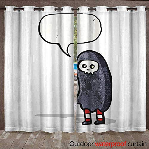 RenteriaDecor Outdoor Curtain for Patio Halloween Cosume Cartoon W72 x L84 -