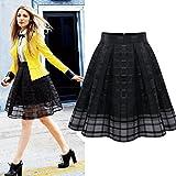 FUNIC,Women Organza Skirts High Waist Zipper Ladies Tulle Skirt