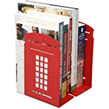 One Pair Vintage Fashion British Style London Telephone Booth Kiosk Thickening Iron Library School Office Home Study Metal Bookends Book End (Red)
