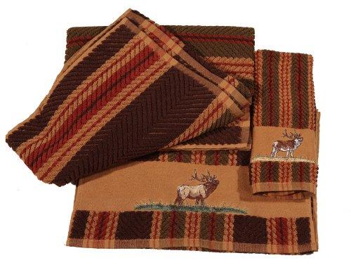 HiEnd Accents 3-Piece Elk Lodge Towel Set, Stripes by HiEnd Accents