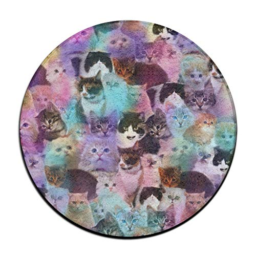 Galaxy Kitten Cat Puzzle Soft Comfort Flannel Round Area Indoor Mats Rugs,Non-Slip Multi-Use Doormat Super Absorbent Washroom Mat Toilet,Kitchen Floor Mats Washable Home Decor Carpets