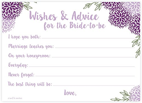 Purple Floral Bridal Wishes and Advice for Bride to Be - Bridal Shower Activity/Game (50 Count) ()
