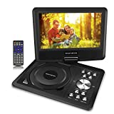 11 inch Swivel Portable DVD/CD Player with 9 inch Screen For Kids For Car Travel,5 Hour Rechargeable Battery, SD Card/ USB Port,1.8M AC/DC Adapter- Black