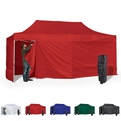 Vispronet 10x20 Instant Canopy Tent and 4 Side Walls – Commercial Grade Aluminum Frame with Water-Resistant Canopy Top and Sidewall – Bag and Stake Kit Included (Red) : Garden & Outdoor