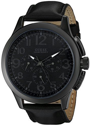 GUESS Mens U10628G1 Black Modern Details Casual Sport Watch