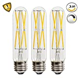 Leools 8W Dimmable Edison Led Tubular Bulb T10m,E26 Medium Base Lamp 75 Watt Incandescent Bulb Equivalent 2700K Neat Warm White, 3-Pack