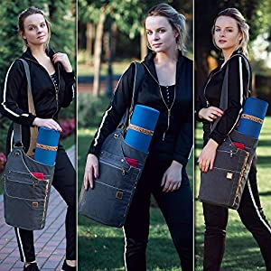 WRASCO Yoga Mat Bag Canvas Casual Yoga Backpack Convertible Yoga Mat Tote Sling Carrier – Fits Most Mat Sizes – Yoga Bags and Carriers for Women & Men – Gift 2 Elastic Straps