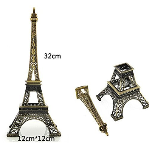 Metal French Eiffel Tower Statue Figurine Replica Centerpiece Room Table Decor Jewelry Stand Holder French Souvenir Gift from Paris, France (Large: 12 Inches)