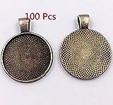 ASIBT 100 PCS Bezel Pendant Trays Round Cabochon Settings Trays Pendant Blanks, 25mm Diameter (Bronze)