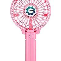 Mini Fan, Foldable Portable Desktop Fan with USB Rechargeable Battery Operated Electric Fan (Pink)