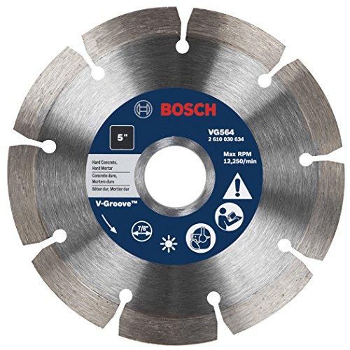 UPC 000346461442, Bosch VG564 5-Inch x 7/8-Inch Segmented Rim V-Groove Diamond Blade for Hard Material