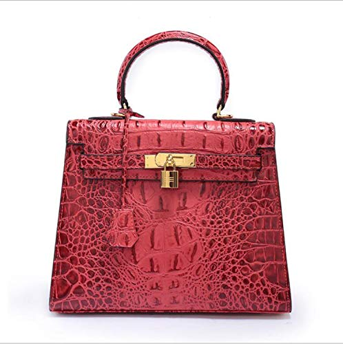 Luxury Women's Fashion genuine leather shoulder bags crocodile pattern female totes bags,Red,M