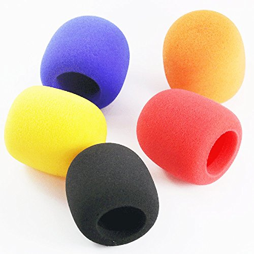Z ZICOME 5 Pack Foam Microphone Cover Ball Type Windscreen in Black, Blue, Orange, Yellow, Red (Microphone Covers Foam)