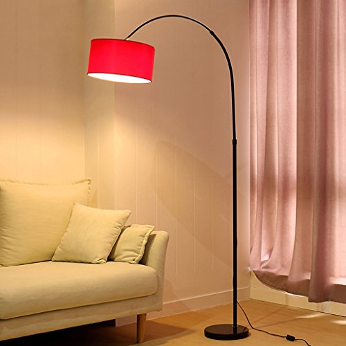 Living Room Fishing Lights LED Remote Control Floor Lamp 6 Colors Optional Cloth Shade Adjustable Height Bedroom Bedside Lamp ( Color : Red wine )