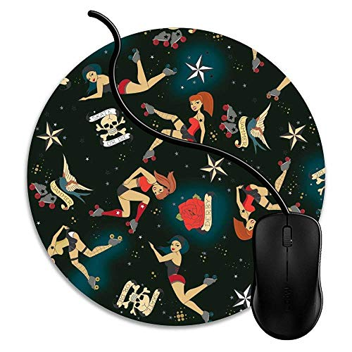 Gaming Mouse Pad Retro Roller Pin Ups, Waterproof Mouse Pad with Rubber Base,Optimized Accuracy and Control for All Computer Mouse,Fits Mouse Keyboard 1V1699