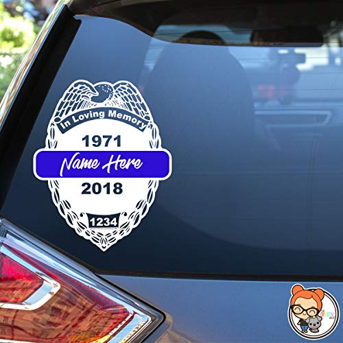 In Memory Police Officer Badge Design Vinyl Die Cut Decal Sticker for Car Laptop etc. ()