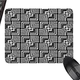 zojihouse Black and White Large MousePads Mat Non-Slip Geometric Op Art Pattern Unusual Checked Optical Illusion Effect Modern W8xL9.5 Black White