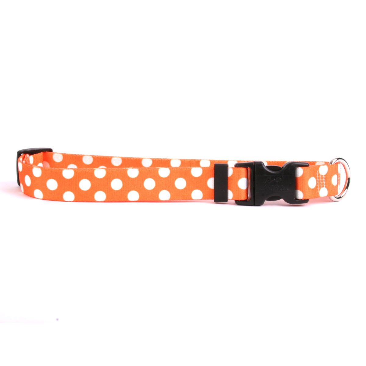 Yellow Dog Design Tangerine Polka Dot Dog Collar with Tag-A-Long ID Tag System-Small-3/4 Neck 10 to 14''