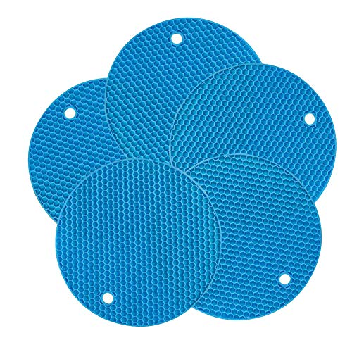 Pots Pans Dishes Round Large Multi Use Flexible Heat Resistant Thick Rubber Hot Pot Holder Set Insulation Table Silicone Potholder Blue-5 Packs ()