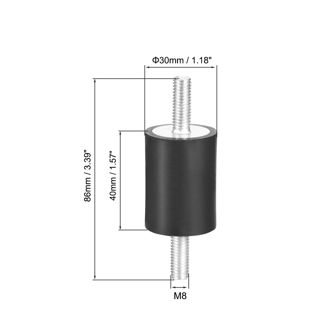 uxcell 30 x 30mm Rubber Mounts,Vibration Isolators,Shock Absorber with M8 x 23mm Studs 4pcs