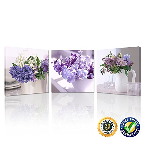 Kreative Arts - Lilac Flowers in Glass Vase Canvas Prints Home Decor 3pcs Still Life Canvas Wall Art Giclee Printing Ready to Hang for Kitchen Walls Decorations 16x16inchx3pcs (16' Flower Square Box)