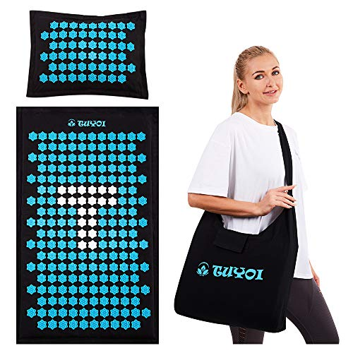 TUYOI Acupressure Mat and Pillow Set,Natural Coconut Palm,Eco-Friendly Acupressure Body Mat for Back and Neck Pain Relief, Muscle Relaxation with Free Tote Bag