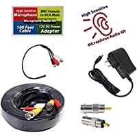 Evertech High Sensitive Preamp Microphone Audio Pickup Device Sound Voice Pickup Kit with 100 Feet Cable and Power Supply
