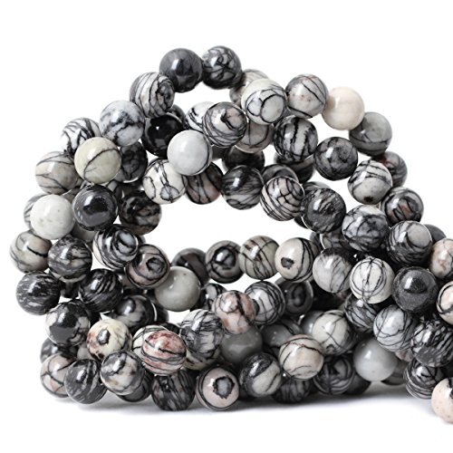 Qiwan 35PCS 10mm Black Network zebra Stripes Natural Stone Beads For Jewelry Making DIY Bracelet Necklace 1 Strand 15