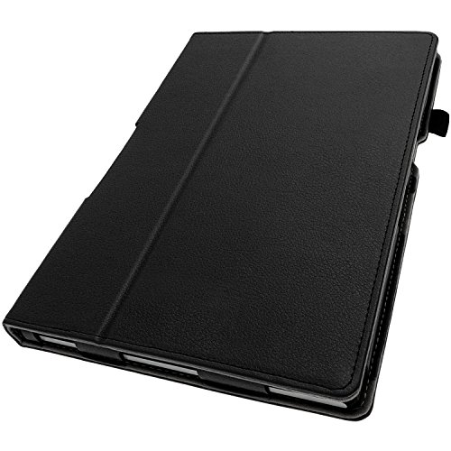 iGadgitz Premium Black PU Leather Folio Case Cover for Sony Xperia Z2 Tablet SGP511 10.1 with Multi-Angle Viewing Stand + Auto Sleep/Wake + Hand Strap + Stylus Pen Holder + Screen Protector