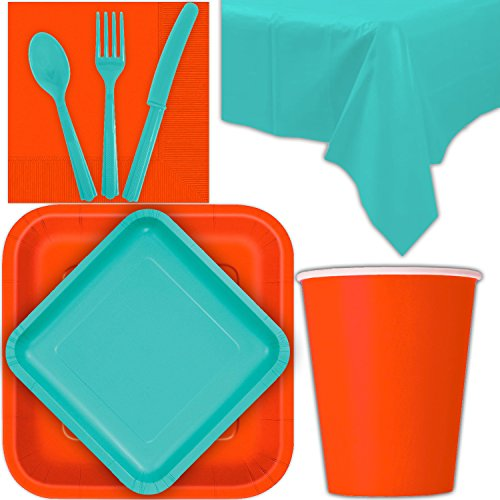 Disposable Party Supplies for 28 Guests - Pumpkin Orange and Caribbean Teal - Square Dinner Plates, Square Dessert Plates, Cups, Lunch Napkins, Cutlery, and Tablecloths: Premium Quality Tableware Set