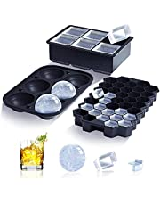 Ice Cube Trays (Set of 3), Silicone Large Round Ice Cube Maker with Lid, Sphere Square Honeycomb Ice Cube Molds for Whiskey, Cocktails, Bourbon,Reusable and BPA Free