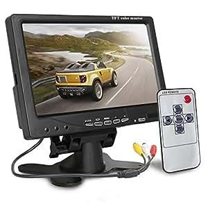 TFT LCD Monitor, emontek coche de visión trasera Monitor 2Entrada de vídeo con control remoto y soporte para cámaras, retrovisor coche DVD, Serveillance cámara, STB, receptor de satélite, color negro