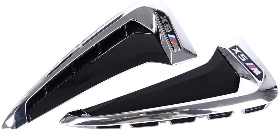 Chrome+M Car Xdrive Emblem Shark Gills Side Air Flow Fender Vent Decoration Cover Trim for BMW X5 f15 X5M F85 2014-2018