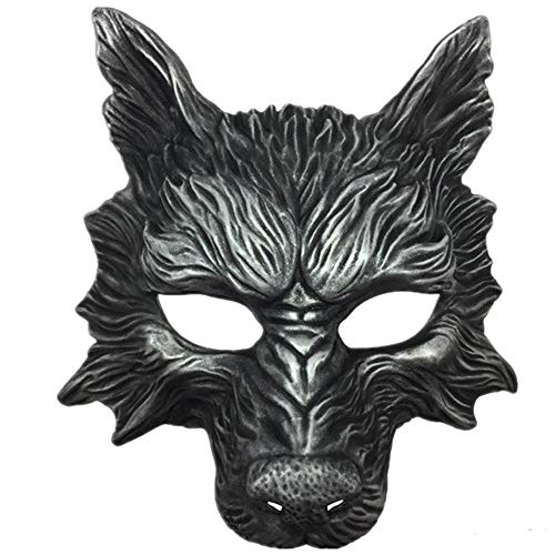 Storm Buy] Wolf Mask Steampunk Style Scary Horror Devil Wolf Animal Masquerade Halloween Costume Cosplay Party mask (Silver)