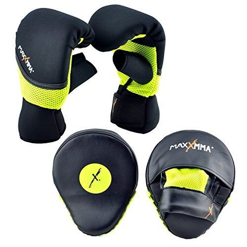 MaxxMMA Boxing MMA Training Kit - Pro Punch Mitts + Washable Neoprene Bag Gloves (Black/Neon, S/M)